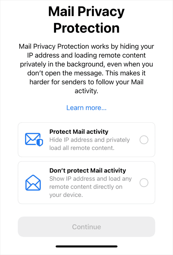 iOS 15 Email Privacy Protection Prompt
